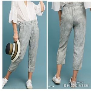 ANTHROPOLOGIE Cropped Striped Green Linen Pants